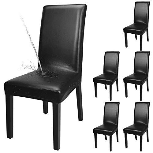 Fuloon Stuhlhussen 4er 6er, Wasserdichtes Pu Leder Stretch Stuhl-Bezug Bi-elastische Schutz-Husse, Dekor moderne Spann-Abdeckung