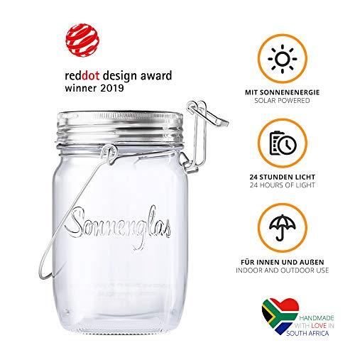 SONNENGLAS Mini 250ml 2019 | Original Solarlampe/Solar-Laterne im Einmachglas aus Südafrika (inkl. USB) | warmweiß |Bekannt aus Pro7 Galileo