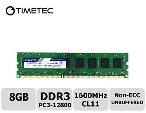 Timetec Hynix IC 8 GB DDR3L 1600 MHz PC3L-12800 Non-ECC Unbuffered 1,35 V/1,5 V CL11 2Rx8 Dual Rank 240 Pin UDIMM Desktop PC Computer RAM Module Upgrade (8 GB)