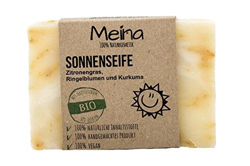 Meina Naturkosmetik – Naturseife - Sonnenseife mit Zitronengras, Ringelblumen und Kurkuma (1 x 110 g) 100% natürliche, vegane, handgemachte Bio Seife mit Bio Mandelöl, Bio Shea Butter, Gesichtspflege und Körperpflege