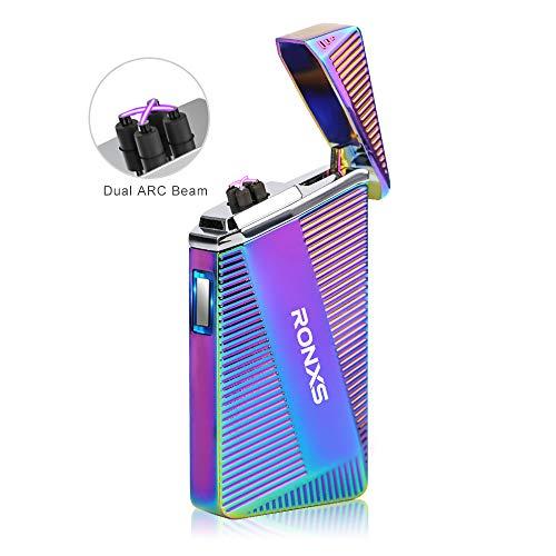 Ronxs Elektro Feuerzeug, Dopple Lichtbogen Feuerzeug USB Feuerzeug flammenlos Zigarettenanzünder, USB wiederaufladbar, Winddicht Wasserabweisend mit Geschenk Box (bunt)