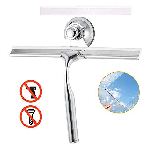LEBEXY Duschabzieher | Glass Abzieher Dusche | Fensterabzieher | Duschkabinenabzieher | Wasserschieber Dusche | Duschwandabzieher | Duschwischer mit 1 Silikon Wischlippe Dusch Ersatzlippe