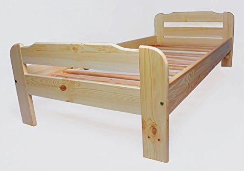 Einzelbett mit Lattenrost aus Kiefer massiv  Leichter Aufbau  Robuste Bauweise  Massives Holz-Bett | Bettgestell optional mit Schubladen | Kieferbett, Naturholzbett aus Familienbetrieb