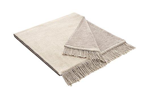 Bocasa 50 x 200 cm, Salt Pepper '&Biederlack Decke/Überwurf, Baumwolle, natur