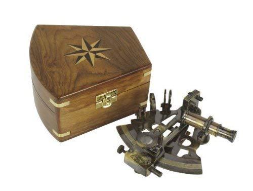 magicaldeco Edler Sextant im Antikdesign mit Holzbox- Messing anlaufgeschützt- kein polieren
