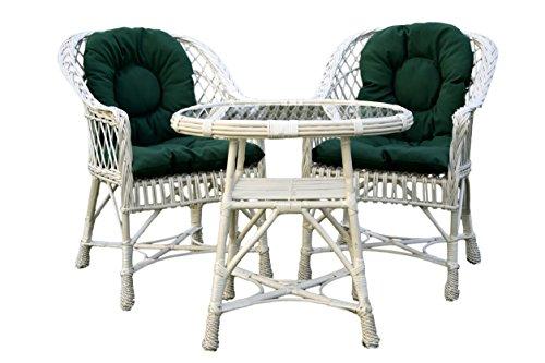 Eine Reihe von polnischen Korbmöbel: 2 Sessel + Tisch + Kissen