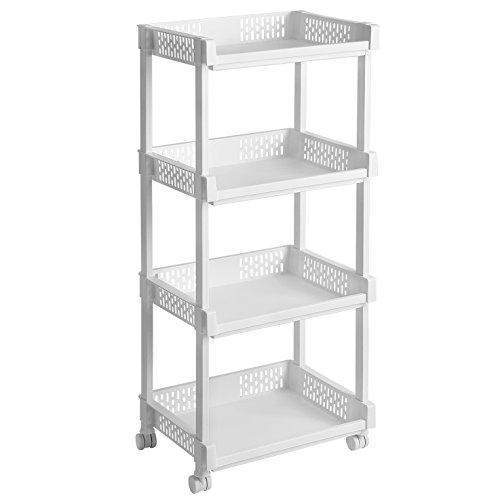 SONGMICS Rollwagen aus Kunststoff Allzweckwagen mit Rollen für Küche Büro Bad weiß mit 4 Etagen 86 cm hoch KSC04WT