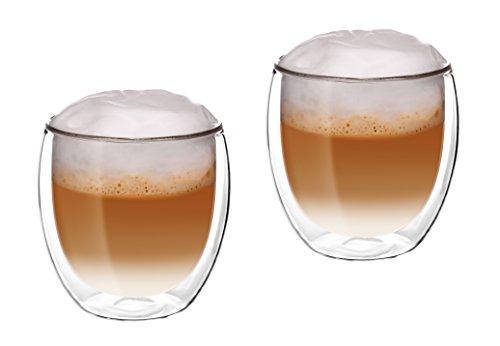 Glassquisite - doppelwandige Gläser – Thermogläser – 2er Set mit Schwebe-Effekt - je 300 ml – ideal geeignet für Heiß- oder Kaltgetränke wie Tee, Cappuccino, Kaffee, Wasser, Cocktails