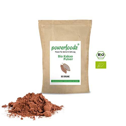 Powerfoodz Kakao Pulver Stark Entölt - Reines Kakaopulver - Ohne Gentechnik Vegan Vegetarisch und Glutenfrei (1kg)