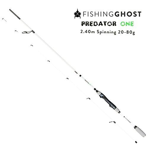 FISHINGGHOST PredatorOne Hechtrute 2,40m, 20-80g - Angelrute –Spinnrute –Steckrute – direkte Kraftübertragung beim Angeln auf Hecht, Zander, Dorsch, Seeforelle, Lachs