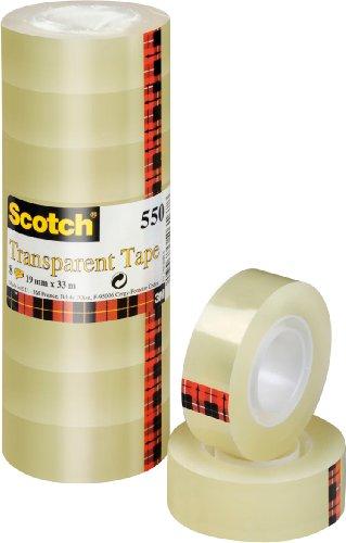 Scotch 5501933 Klebeband 550 (Polypropylenfolie, 19 mm x 33 m) 8 Rollen transparent