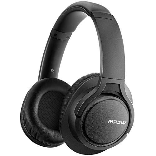 【Verbesserte】Mpow H7 Bluetooth Kopfhörer over Ear, Kabellose Kopfhörer mit Kräftigen Bass-Sound, 18 Stunden Spielzeit, Memory-Protein Ohrpolster, CVC6.0 Noise Canceling Mikrofon Freisprechen, Schwarz