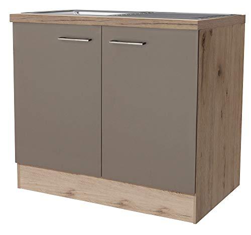 Smart Möbel Spülenunterschrank ohne Arbeitsplatte 100 cm Quarz-Cubanit/San Remo Eiche hell - Rodello