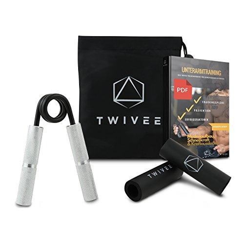 TWIVEE | Fingerhantel für maximale Griffkraft | Unterarmtrainer mit Griffpolster und Tasche | Gripper aus gehärtetem Stahl und Aluminium | Handtrainer | Handmuskeltrainer