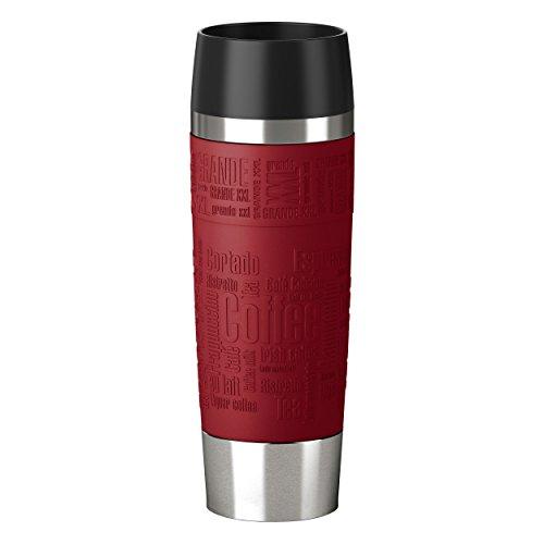 Emsa 515617 Isolierbecher (Mobil genießen, 500 ml, Quick Press Verschluss, Travel Mug Grande) rot