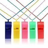 Kesote 20 Stück Pfeife Plastik Trillerpfeife Whistle mit Lanyard für Kinder Schule Sport, 5 Farbe