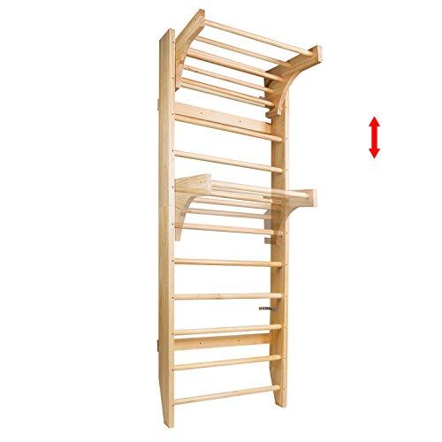 CCLIFE Sprossenwand Kletterwand Turnwand höhenverstellbare Klimmzugstange Klettergerüst Holz für Kinder/Erwachsene