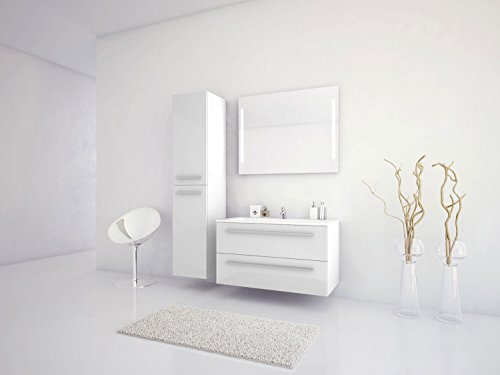 Jokey Badmöbel-Set Libato - 90 cm breit - Weiß Hochglanz - Badezimmermöbel Waschtisch mit Unterschrank Spiegel mit Beleuchtung und Hochschrank Sieper