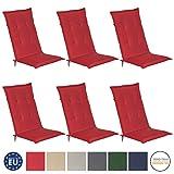 Beautissu 6er Set Loft HL Hochlehner Auflagen Set rot 120x50 cm Sitzkissen Gartenstuhlauflage Schaumkern-Füllung mit Oeko-Tex - UV Lichtecht