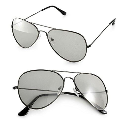2er Set 3D Brillen (Pilotenbrille) für passives 3D TVs, PC-Spiele oder Kino RealD, Passivbrille (zirkular polarisiert) Farbe: schwarz, Marke Ganzoo