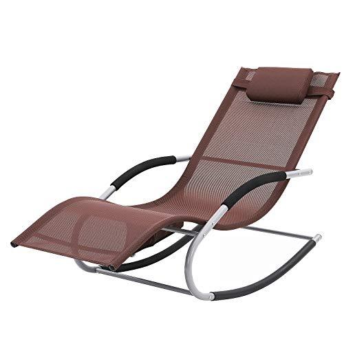 SONGMICS Sonnenliege, Schaukelstuhl mit Kopfkissen und Seitentasche, Eisengestell, atmungsaktives Textilene-Gewebe, komfortabel, bis 150 kg belastbar, braun GCB23BR