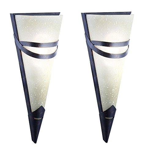 2er Set Wand Lampe Antik Design Rost Farben Esszimmer Strahler Fackel Leuchte