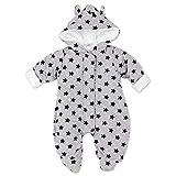Artex Baby Winter Overall Unisex | Farbe: grau Sterne navy | Winter Anzug mit Kapuze für Neugeborene & Kleinkinder | Größe: 3 Monate (62)