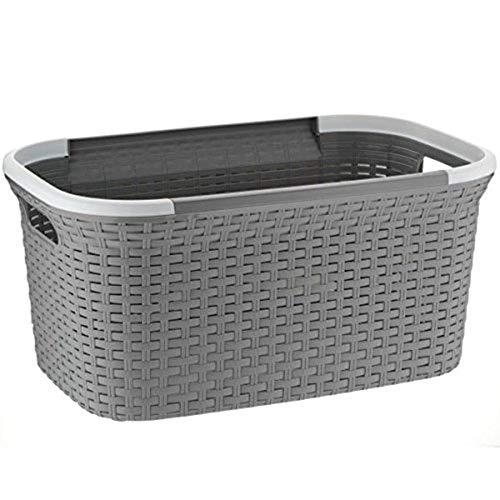 MamboCat Rio 40 L grau weißer Wäschekorb Plastik stabil I Laundry Box Wäsche I Wäschesammler Kunststoff I Wäschewanne ideal zum Wäsche vorsortieren transportieren 55x35x35 cm (LxBxH) (Grau)