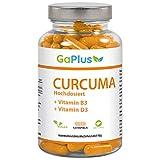CURCUMA Hochdosiert, Natürliches Kurkuma + 95% ig Curcumin Extrakt + Vitamin B3 + Vitamin D3. - Cholesterinspiegel + Antioxidans + Entzündungshemmend, 120 Kapseln im 4 Monatsvorrat