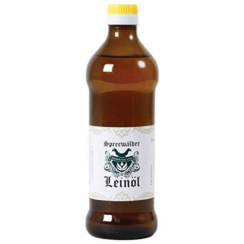 Original Spreewälder Leinöl kaltgepresst, ungefiltert 100% naturrein und naturbelassen Leinsamenöl Omega 3 vegan reines Naturprodukt aus dem Spreewald (500 ml)