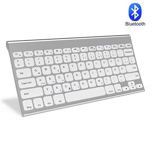 Jelly Comb Bluetooth Kabellose Tastatur für Laptop, PC und Tablets, Deutsches Layout QWERTZ, Weiß und Silber