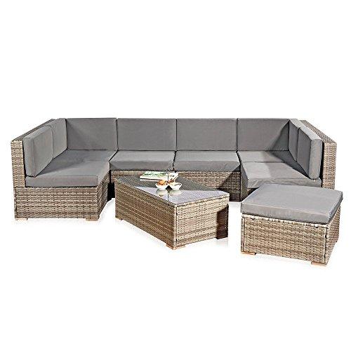 Melko XXL Gartenset, Poly Rattan, Lounge Sofa-Garnitur mit Glastisch, inklusive Kissen, mehrteilig (Grau)