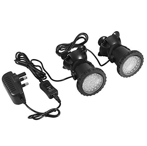 Pssopp Unterwasserbeleuchtung Unterwasserleuchte Strahler Aquarium Licht Wasserdichtes IP 68 LED Unterwasser Strahler mit Fernbedienung für Wasser Garten Teich Fisch Tank(mit 2 Strahler)