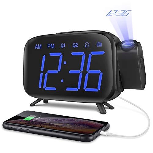 Projektionswecker Radiowecker digitaler Wecker mit Projektion Tischuhr mit 3 stufige Helligkeit 180 ° Projektion 7 Alarmtöne Snooze FM Radio USB-Anschluss von ELEHOT Verpackung MEHRWEG (Blau)