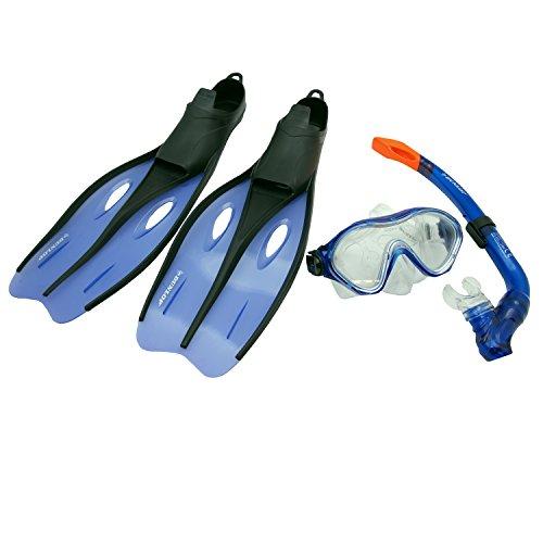 Profi Schnorchel Set DUNLOP Schwimmflossen Taucherbrille Tauchmaske Kinder Jugend Erwachsene Größe 32-42 (Blau, 35-37)
