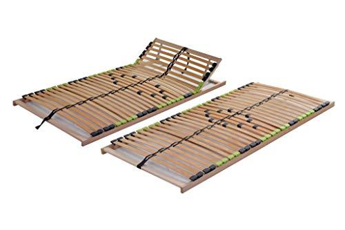 DaMi Basic 7 Zonen Lattenrost Buche mit 5 Fach Härteverstellung I Bettenrost Matratzenrost Federholzrahmen Holzlattenrost Lattenrahmen (Kopf verstellbar, 160 x 200 cm)