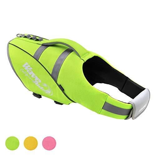 ubest Reflektierende Schwimmweste für Hunde, Verstellbare Rettungsweste für Hunde, zum Schwimmen, Surfen, Kajakfahren, Bootfahren, Grün, L