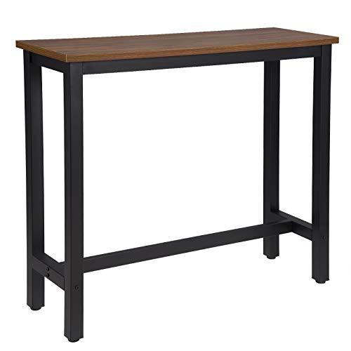 WOLTU #1244 1x Bartisch Bistrotisch Stehtisch Esstisch, Metallgestell, Tischplatte aus MDF, 120x40x100cm(BxTxH)