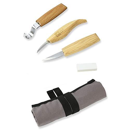 Zite Tools Schnitzwerkzeug-Set in Tasche 5-teilig - Diverse Schnitzmesser & Abziehstein zum Holz und Löffel Schnitzen