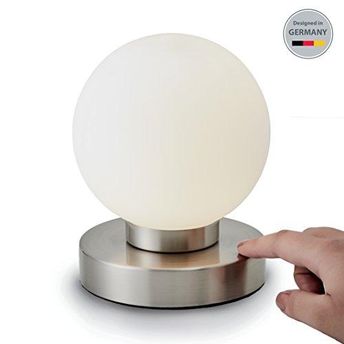 B.K.Licht Tischleuchte | Tischleuchte | Nachttisch-Leuchte für Schlafzimmer | Touchfunktion | IP20