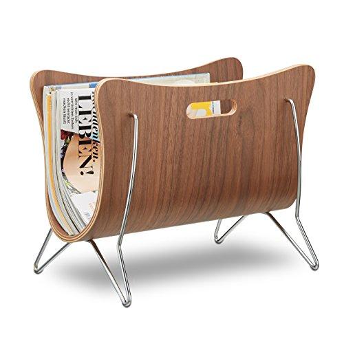 Relaxdays Zeitungsständer Holz, Bugholz, Zeitungskorb, modernes Design, robust, Tragegriffe, HBT 30 x 37 x 25 cm, natur
