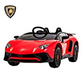 UEnjoy Lamborghini Aventador Kinderauto Elektro 12V Kinderfahrzeug Elektronisch kampatibel mit Fernbedienung, LED-Leuchten,Rollenaufhängung,AUX in,Rot