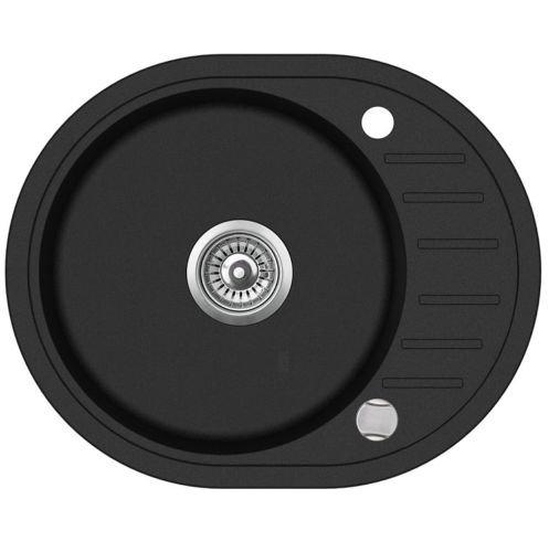 Spüle Spülbecken Granit 59x46 cm Einzelbecken Küche Einbauspüle Verbundspüle Küchenspüle schwarz gesprenkelt + Drexexcenter + Siphon Waschbecken