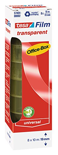 tesafilm transparent, Office-Box mit 8 Rollen, 10m x 19mm