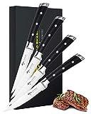 MAD SHARK Steakmesser 4,5-Zoll-Steakmesser, 4er-Set,Bester Deutscher High Carbon-Edelstahl mit Ergonomischem Griff, Beste Wahl für Die Küche zu Hause und den Esstisch