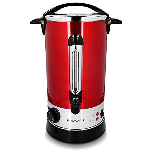 Navaris Glühweinkocher Heißwasserspender aus Edelstahl - 10l - mit Thermostat Füllstandanzeige Zapfhahn - Glühwein Heißgetränkeautomat Rot