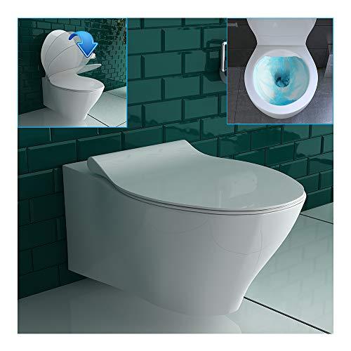 Spülrandlos Hänge-WC aus Sanitärkeramik in Weiß inkl. WC-Sitz mit SoftClose Funktion | D-Form langsamege, geräuschlose Absenkung Softclose WC-Set Neues Design