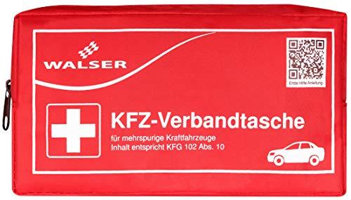Walser 44155 Kfz Verbandstasche nach Kfg 102 ABS. 10 Rot, Erste-hilfe Set Auto, Verbandtasche