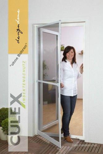 Insektenschutz Fliegengitter Tür Alurahmen PROFI QUALITÄT SLIM IN XL NEU, 120 x 240 cm, ohne Bohren, Rahmenfarbe anthrazit