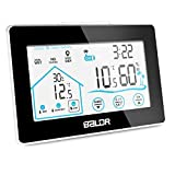 Wetterstation Funk mit Außensensor, BALDR Digital Thermometer-Hygrometer für Innen und außen, Hintergrundbeleuchtung und aktuelle Uhrzeit, schwarz